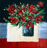 Ruby Red Roses on Cream Cloth - Alison Cowan