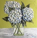 Three Hydrangeas on Lime - Alison Cowan